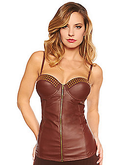 Adult Brown Pleather Corset