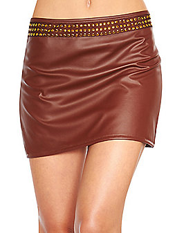 Faux Leather Studded Mini Skirt