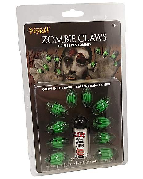 Green Zombie Claws Fake Nails - Spirithalloween.com