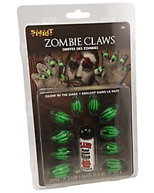 Green Zombie Claws Fake Nails