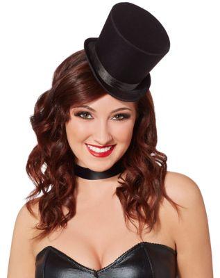 Steampunk Hats | Top Hats | Bowler Black Mini Top Hat Fascinator by Spirit Halloween $9.99 AT vintagedancer.com