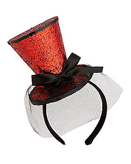 Red Glitter Mini Top Hat Fascinator