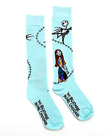 Stitched Sally Knee High Socks - The Nightmare Before Christmas