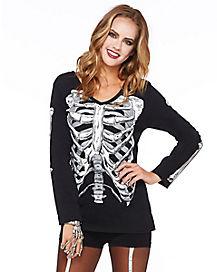 Long Sleeve Skeleton T Shirt