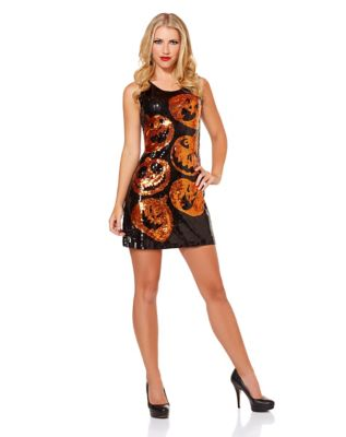 Vintage Retro Halloween Themed Clothing Sequin Pumpkin Dress by Spirit Halloween $32.99 AT vintagedancer.com