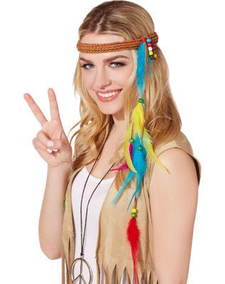 Vintage Hair Accessories: Combs, Headbands, Flowers, Scarf, Wigs Hippie Feather Headband by Spirit Halloween $6.99 AT vintagedancer.com