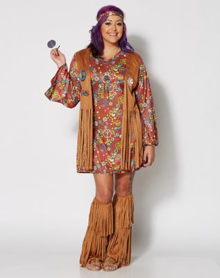 60s Costumes: Hippie, Go Go Dancer, Flower Child Adult Peace and Love Hippie Plus Size Costume by Spirit Halloween $44.99 AT vintagedancer.com