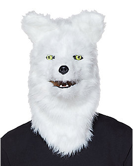 Moving Mouth White Wolf Full Mask