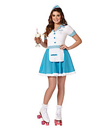 Waitress Halloween Costume fantasy fixer adult womens dress game waitress costume theme party halloween Adult Car Hop Costume