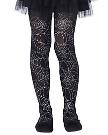 Metallic Silver Spider Web Tights