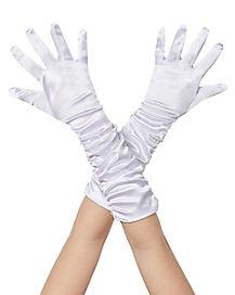 Kids White Satin Ruched Gloves