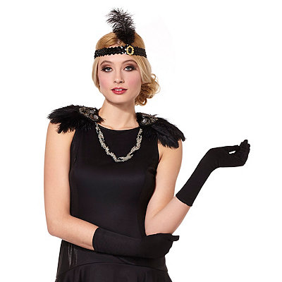 1920s Style Costumes 20s Feather Epaulettes $19.99 AT vintagedancer.com
