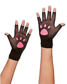 Fishnet Kitty Paw Gloves