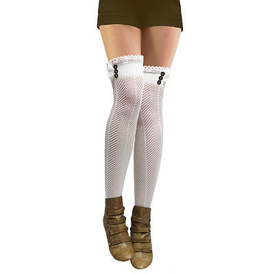 Victorian Steampunk Clothing & Costumes for Ladies Crochet Steampunk Thigh High Stockings $12.99 AT vintagedancer.com