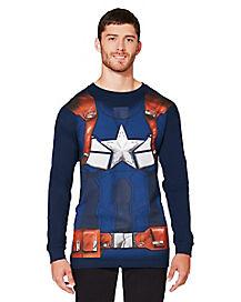 Adult Long Sleeve Captain America T Shirt - Marvel
