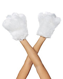 White Furry Paws Gloves
