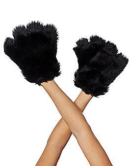 Black Faux Fur Paws Gloves
