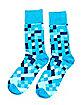 Turquoise Aqua Pixel Crew Socks