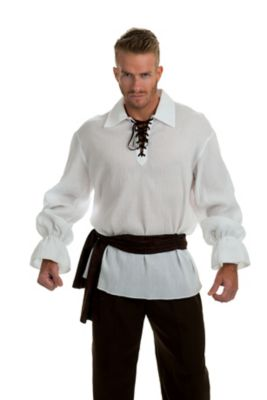 Men's Steampunk Costume Essentials Adult White Gauze Pirate Shirt by Spirit Halloween $26.99 AT vintagedancer.com