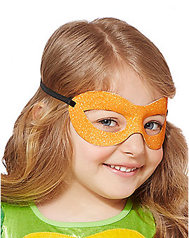 Kids Glitter Michelangelo Half Mask - Teenage Mutant Ninja Turtles