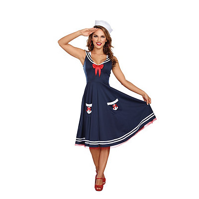 1940s Style Dresses and Clothing Adult All Aboard Sailor Costume $39.99 AT vintagedancer.com