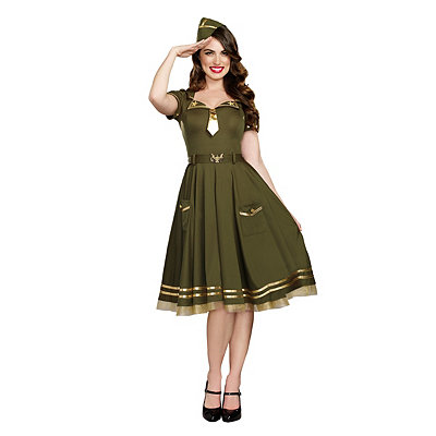 1940s Style Dresses and Clothing Adult War Time Doll Costume $49.99 AT vintagedancer.com