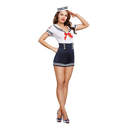 Vintage Rompers and Retro Playsuits Adult Seafaring in Style Sailor Costume $49.99 AT vintagedancer.com