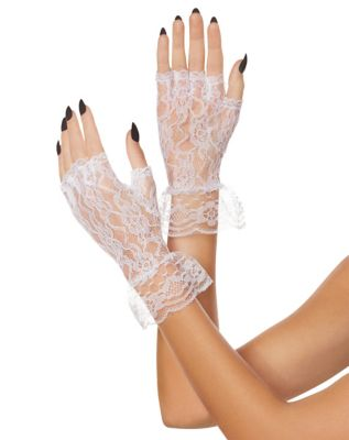 Vintage Style Gloves- Long, Wrist, Evening, Day, Leather, Lace White Lace Ruffle Gloves by Spirit Halloween $6.99 AT vintagedancer.com