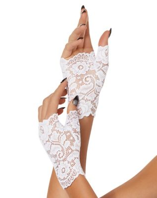 Vintage Style Gloves- Long, Wrist, Evening, Day, Leather, Lace White Lace Gloves by Spirit Halloween $9.99 AT vintagedancer.com