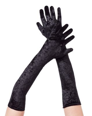 Vintage Style Gloves- Long, Wrist, Evening, Day, Leather, Lace Black Velvet Arm Gloves by Spirit Halloween $9.99 AT vintagedancer.com