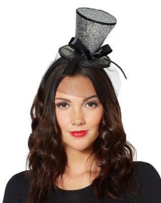 Edwardian Hats, Titanic Hats, Tea Party Hats Glitter Mini Top Hat Fascinator by Spirit Halloween $9.99 AT vintagedancer.com