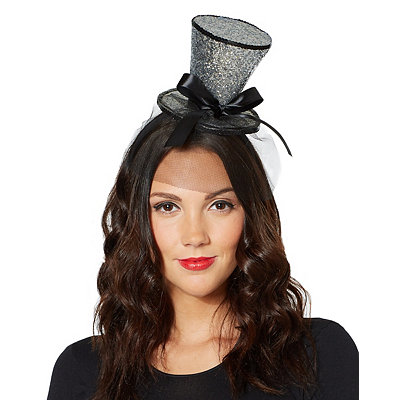 Victorian Costumes: Dresses, Saloon Girls, Southern Belle, Witch Glitter Mini Top Hat Fascinator $9.99 AT vintagedancer.com