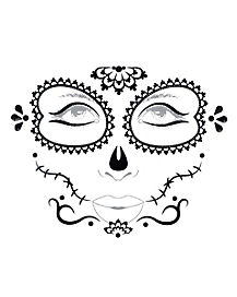 Black and White Sugar Skull Face Decal