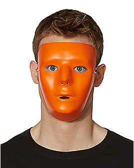Blank Face Orange Half Mask