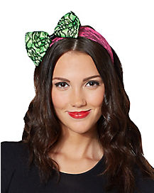Pink & Green Lace Bow Headband