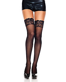 Black Sheer Lace Top Thigh High Stockings
