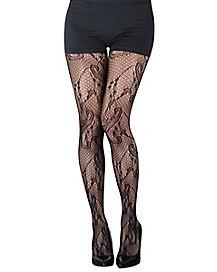 Black Lace Filigree Tights