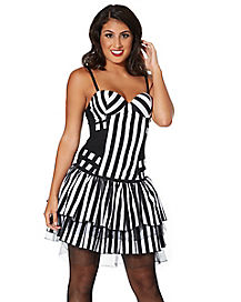 Adult Black and White Striped Corset
