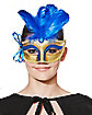 Blue Feathered Venetian Mask
