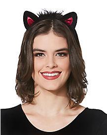 Black and Pink Cat Ear Headband