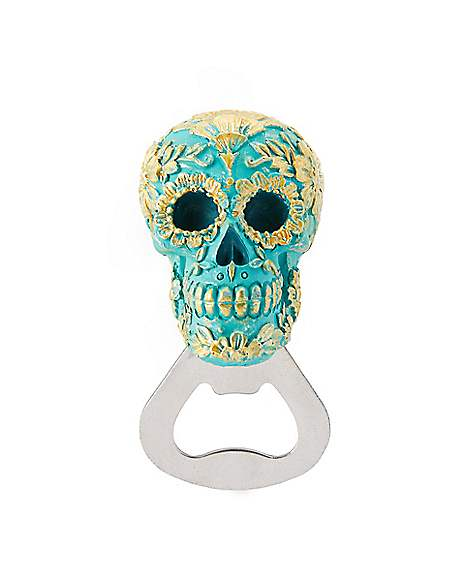 Teal and Gold Sugar Skull Bottle Opener - Spirithalloween.com