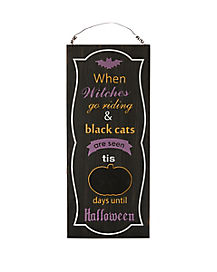 Witches Go Riding Halloween Countdown Sign - Decorations