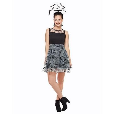 Vintage Retro Halloween Themed Clothing Black Bat and Spider Dress $39.99 AT vintagedancer.com