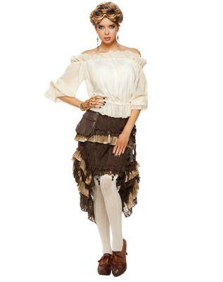 Steampunk Dresses | Women & Girl Costumes Ivory Off The Shoulder Shirt by Spirit Halloween $21.99 AT vintagedancer.com