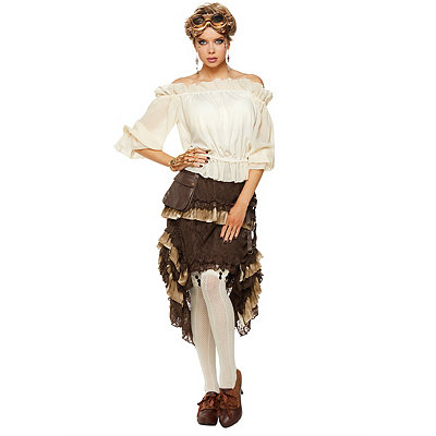 Victorian Steampunk Clothing & Costumes for Ladies Ivory Off The Shoulder Shirt $21.99 AT vintagedancer.com