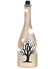 White Frosted Light Up Tree Bottle - Decorations