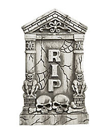 2 Ft Skull and Gargoyle Tombstone - Decorations