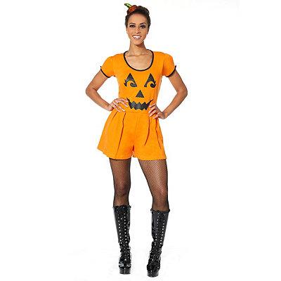 Vintage Retro Halloween Themed Clothing Adult Pumpkin Romper $24.99 AT vintagedancer.com