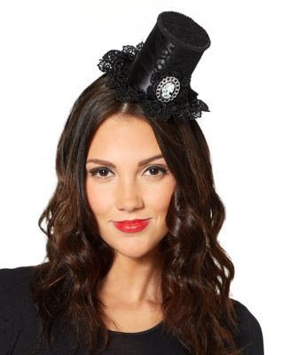 Steampunk Hats | Top Hats | Bowler Gothic Mini Top Hat Fascinator by Spirit Halloween $9.99 AT vintagedancer.com