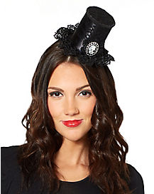 Gothic Mini Top Hat Fascinator